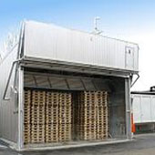 wood chip heating system in container form